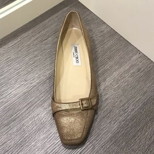 Jimmy Choo gold suede flats